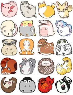 Fat Animal Charms - IdentityPollution - Chiens et Chiots -. Tier Doodles, Cute Doodles, Fat Animals, Cute Baby Animals, Sock Animals, Cutest Animals, Funny Animals, Funny Drawings, Easy Drawings