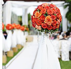 Outdoor Ceremony Decor. The deep orange better for more formal event
