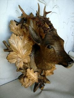 Black Forest Carved Walnut Stag with Real Antlers, surrounded by carved foliage and acorns. on Jul 2012 Twig Furniture, Log Cabin Furniture, Rustic Wood Furniture, Western Furniture, Furniture Design, Rustic Primitive Decor, Rustic Decor, Black Forest Wood, Log Home Interiors