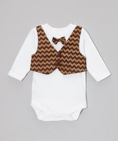 Take a look at this Brown Zigzag Vest & Bow Tie Bodysuit - Infant by Caught Ya Lookin' on #zulily today!