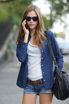 chic classic with denim on denim and black accessories stand-out belt