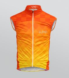 Cycling Gilet from the Luxa Warm Orange collection. Designed with using only warm orange colors. Filled up by subtle triangle pattern perfectly fits to other clothes from Warm Orange set.