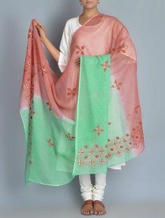 Green-Pink Kota Doria Cotton Zari Phool Patti Chikankari Embroidered Dupatta