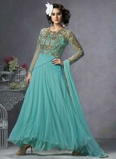 Sea Blue Faux Georgette And Embroidery Work Anarkali Suit
