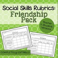 These rubrics were designed to help counselors, teachers, social workers, or SLPs keep track of a student's progress on #friendship goals. The set includes 7 rubrics in both a teacher and student version (for a total of 14 rubrics + 2 blank ones to customize). Presented in PDF and editable Powerpoint format!