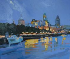 Looking east from Waterloo bridge, original painting by Katharine Rowe