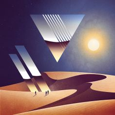 Illustration art design landscape Chrome retro 80s scifi vaporwave Synthwave signalnoise