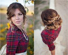 braided updo with brown ombre hair extension clip in for wedding