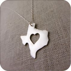 Texas State Necklace in Silver with Heart by DestinysCreations, $55.00