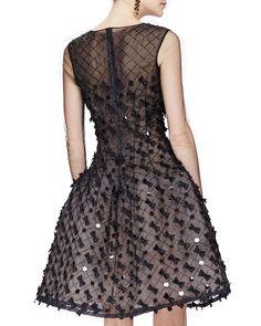 Oscar de la Renta Bow-Embellished Dress with Sheer Long Sleeves