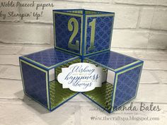 The Craft Spa - Stampin' Up! UK independent demonstrator - Order Stampin Up in UK: Triple Pop Up Cube card to say Happy Birthday Joe Guys 21st Birthday, Birthday Cards For Men, Handmade Birthday Cards, Birthday Beer, Birthday Cakes, Happy Birthday, Fancy Fold Cards, Folded Cards, Cubes