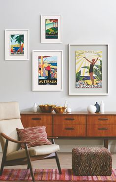 Design a worldly gallery wall with vintage-inspired travel art. I enjoy the look…