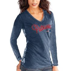 New England Patriots Touch by Alyssa Milano Women's Audrey Long Sleeve T-Shirt - Navy Blue