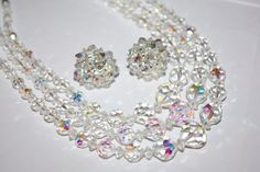 Vintage AB Crystal Necklace 3 Strand Set 1940s Jewelry by patwatty, $30.00