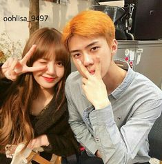 "ohlisa di Instagram ""#exoblackpink  #blackpinkexo  #hunlice  #hunlisa"" Exo Couple, Couple Goals, Exo Kai, Chanyeol, Cristian Grey, Kpop Couples, Fake Photo, Blackpink Lisa, Bambam"