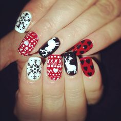 Red black and white square Christmas nails
