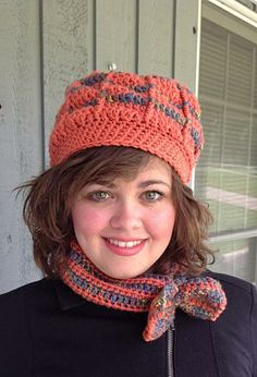 Crochet hat and cowl, crochet headband, coral hat set, orange crochet hat by OnceUponARoll for $25.00