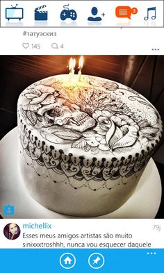 Tattoo Cake, Birthday Candles, Desserts, Food, Artists, Tailgate Desserts, Deserts, Essen, Postres