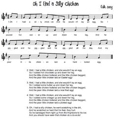 I had a silly Chicken.  Beth's Blog is great for so many songs and ideas.