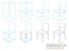 This step by step tutorial shows how to draw a chair in perspective. It can be particularly helpful for beginners looking to learn perspective drawing. Drawing Furniture, Chair Drawing, Interior Design Sketches, Design Portfolio Layout, Tips And Tricks, Cafe Chairs And Tables, Lounge Chairs, Learn To Sketch, Antique Dining Chairs
