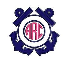 Two Anchors Monogram Applique Machine by EmbroideryMonkey on Etsy