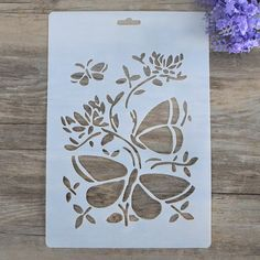DIY Decorative Stencil Template for Painting on Walls Furniture Crafts * Visit the image link more details. Printable Stencil Patterns, Stencil Templates, Stencil Diy, Stencil Designs, Damask Stencil, Diy Crafts Butterfly, Butterfly Stencil, Butterfly Template, Flower Stencils