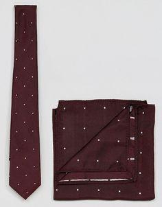ASOS Polka Dot Tie And Pocket Square Set - Red