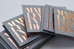 Mark Lewis Interior Design copper foil business cards designed by Everyone Associates. Business Card Fonts, Foil Business Cards, Metal Business Cards, Business Card Design, Event Branding, Branding Design, Foil Packaging, Graphic Design Brochure, Name Card Design