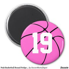 Pink Basketball Round Fridge Magnet. Type in your own jersey number of initials! #basketball #pink #fridgemagnet #sports