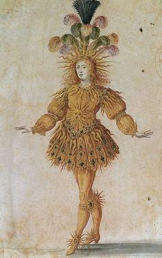"""Louis XIV as Apollo in """"Le Ballet de la nuit."""" Painting by Henri Gissey 1653 via Bibliothèque Nationale de France."""