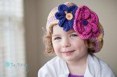 Girls Hat, Honeysuckle Striped Beret, Crochet Hat, Baby, Toddler, Child, Slouch $30