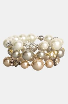 Classy faux pearls.  Love the mix of colors.