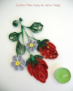 Project8: Passionate Fruits #quilling #art #quillingart #artist #jennytreeg #madebyme  #handmade #paper #colors #fruit #gift #present #flowers #strawberry #strawberries #red