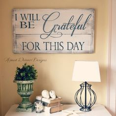"""Image of Barn wood sign """"I will be grateful"""""""