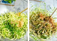 zucchini noodles being prepped for whole30 turkey burgers! | thepikeplacekitchen.com