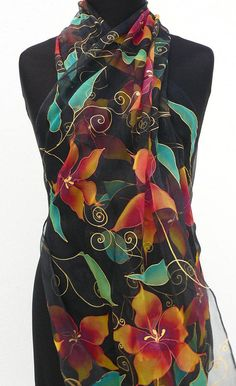 Black sheer silk scarf painted red gold long chiffon silk wrap