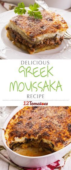 Greek Moussaka | The top bechamel layer gives way to a wonderfully savory meat sauce layered between eggplant to create a dish often compared to a Greek lasagna.