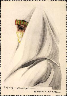 Künstler Ansichtskarte / Postkarte Jaillet, Pierre, Marocaine, Marokkanerin, Frau mit Schleier