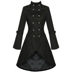 WOMENS LADIES NEW BLACK GOTHIC STEAMPUNK MILITARY COTTON COAT JACKET: Amazon.co.uk: Clothing