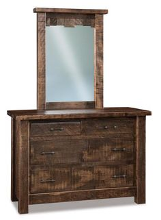 Amish Rough Sawn Brown Maple Wood Vandella 4-Drawer Dresser with Optional Mirror A great look for farmhouse style bedrooms. The Vandella is rugged and rustic. Choice of stain and hardware to best match your bedroom. #dressers #bedroom #bedroomstorage #farmhousebedroom