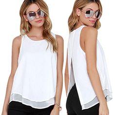 Start 2016 Women Casual White Chiffon T-shirt Falbala Sleeveless Shirt (US=10)