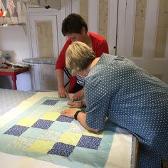 Our fantastic tutor Meg helping one of our quilting students apply the finishing touches Dressmaking, Needle Felting, Workshop, Quilting, Students, How To Apply, Paper Crafts, Kids Rugs, Sewing