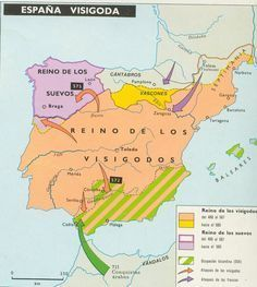 Mapa del Reino Visigodo de Toledo.