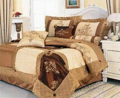 19 Pc Luxury Satin Embroidery Brown Comforter Curtain Sheet Set King Size New