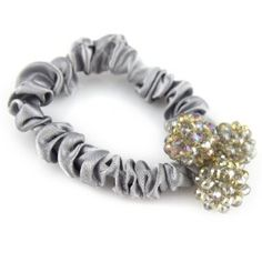 Silver Gray Musk - Triple Sphere Configuration - Crystal Cut Shimmery Bead - Silky Satin Hair Elastic - Scrunchie Hair Tie by Evolatree. $16.99. Save 43% Off!