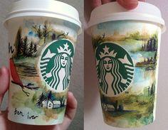 bon iver album cover on a starbucks cup - watercolour Copo Starbucks, Starbucks Cup Art, Starbucks Bottles, Coffee Design, Cup Design, Nespresso, Crackpot Café, Coffee Cup Art, Bon Iver