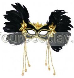 Feather Face Masks | Black Poker Face Mask, Feather & Half Masks, Cosplay Masks