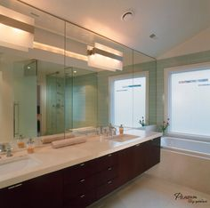 I Like All These Colors, Rich Wood Tone Vanity, White Quartz (?), And  SEA GREEN GLASS TILE Modern Bathroom With Freestanding Tub And View :  Designersu0027 ...