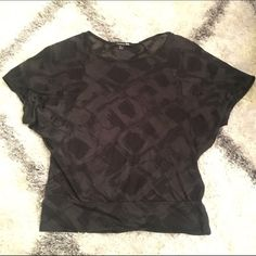 Sheer Black Blouse Short sleeve blouse, sheer with pattern. Fits loosely and excellent condition. Forever 21 Tops