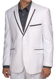 New Men's Super 150s Single Breasted White Dress Suit with Black Trim